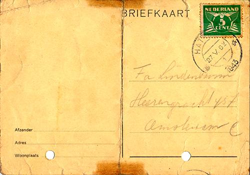 Kaart drukkerij Lindenbaum 27-5-1943 1