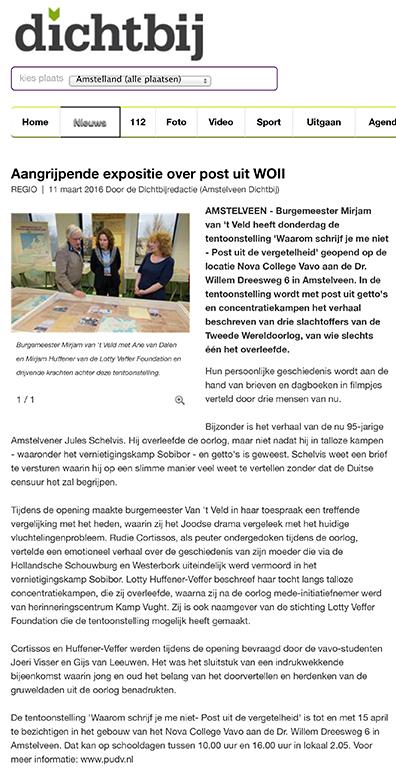 Aangrijpende expositie over post uit WOII - Amstelveen - dichtbi